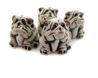 4 Ceramic Animal Beads - Large White Bulldog - LG13