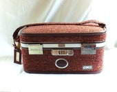vintage Amelia Earhart Burgundy Tweed Train Case Luggage