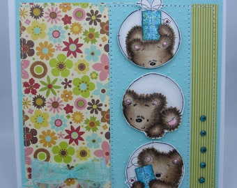 Celebration Trio Teddy - Handmade Card
