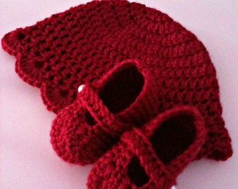 Crochet Baby Hat and Booties, Raspberry Red