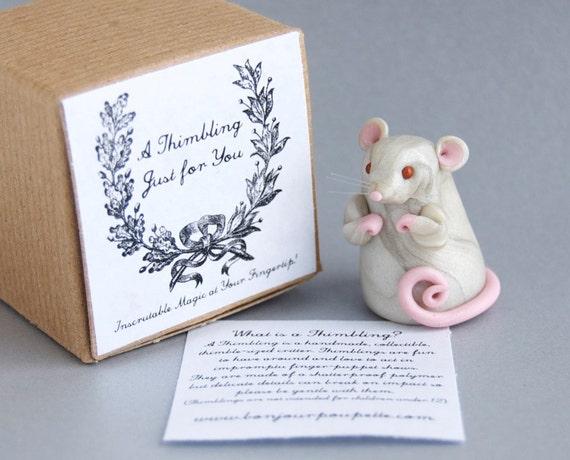 Miniature Mouse Finger Puppet by Bonjour Poupette