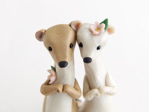 Weasel Wedding Cake Topper with Cherry Blossoms by Bonjour Poupette