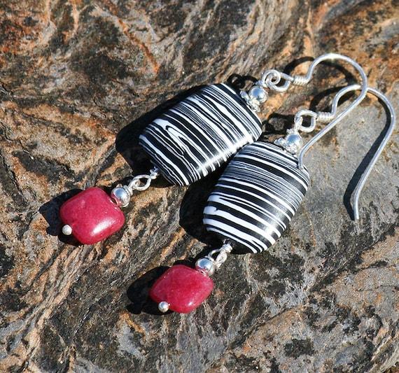 Black and White Earrings, Striped, Zebra, Calcilica, Raspberry Pink Ruby Jade