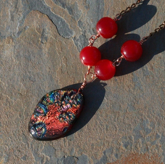 Red Necklace, Dichroic Glass, Copper, Jade, Bohemian, Autumn, Fall