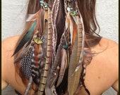 Headband/Hatband / feather, Gemstones, tribal, native american inspired, hippie, bohemian, gypsy, quartz, turquoise, pheasant