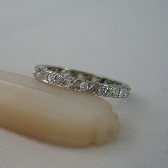 Vintage Eternity Diamond Ring. White Gold and Beautiful Etching. Circa 1930s. Addy on Etsy.