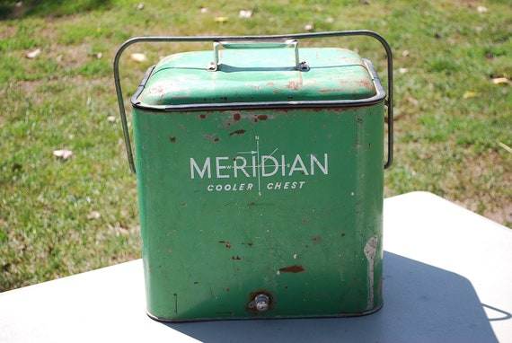 Cooler, Ice Chest, Cooler Chest, Vintage Meridian Green Steel Ice Chest, 1950s