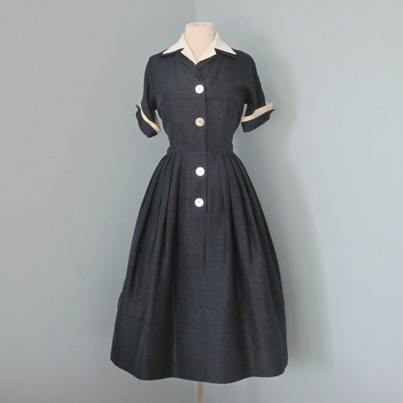 Vintage 1960's Day Dress...Darling Lightweight DAVID CRYSTAL Fashions Navy Day Dress with White Collar and Cuffs Medium