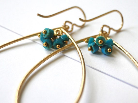 Jewelry, Earrings, Boho Chic, Natural Turquoise, Stocking Stuffer, Gold Hoops Matte Gold Hoops, Accessories, Luxe Jewelry