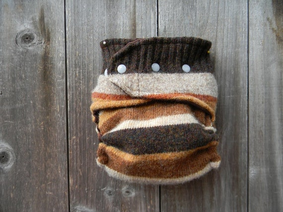 Upcycled Wool  Nappy Cover Diaper Wrap Cloth Diaper Cover One Size Fits Most Earthy Brown Stripes