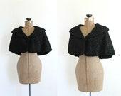 R E S E R V E D vintage 1930s cape 30s black persian lamb designer capelet curly lamb art deco noir bolero shrug / palais garnier
