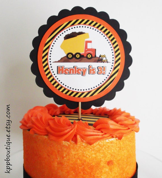 Construction Birthday Personalized Cake Topper