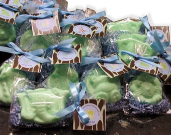Set of 10 Safari Animal Soap Favors Baby Shower Party Favor Birthday with custom tags