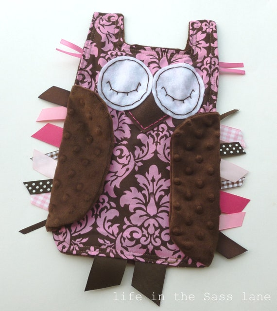 Pink and Chocolate Brown Woodland OWL Ribbon Tag Baby Blanket in Michael Miller Dandy Damask Fabric and Minky Blankie Lovey Lovie Baby Gift