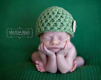 Sage Green Newborn Button Beanie Hat