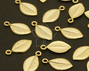 PD-497-MG / 6 Pcs - NEW Cute Leaf Charms, Matte Gold Plated over Brass / 6mm x 11mm