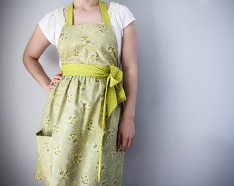 Women's Full Apron / Vintage Inspired Green Yellow Floral Print Denyse Shmidt Gift for Woman Retro Kitchen Accessory Hostess Gift