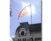 American Flag Print, 8 x 10 in., historical architecture building old glory patriotic red white and blue print