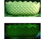Vaseline Glass Fenton Satin Lime Sherbert Hobnail Planter 1950s Makers Mark Mint Condition