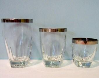 Vintage Silver Rimmed Crystal Glassware - Platinum Banded Glassware - Hazelware Gothic Glassware - Set of 4 Small