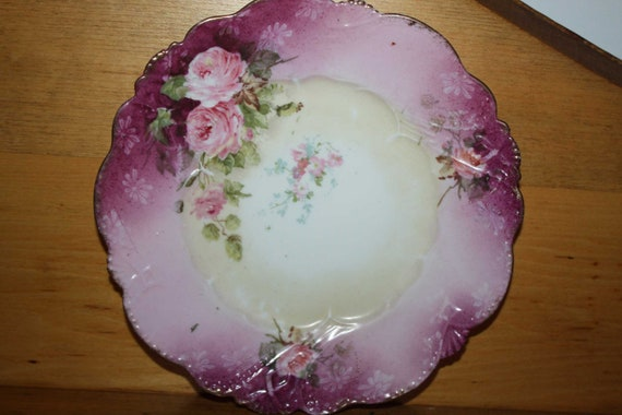 Vintage pretty pink plate - shabby chic - home decor