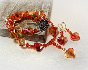 Necklace Set - Tangerine Sunset Crystal Heart Necklace and Earring Set - Orange Necklace Set