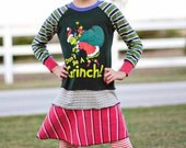 """Upcycled """"Don't Be A Grinch"""" Knit Tshirt Dress Size 7/8"""