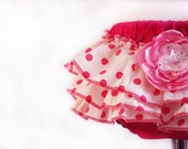 Ruffled baby bloomers diaper covers blooming roses garden