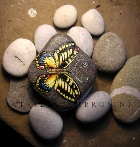 Painted Garden Stones: Handpainted Butterfly No.5 Rock Painting By Thestoneteller