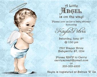 Vintage Baby Shower Invitation For Boy - Angel - Blue - DIY Printable