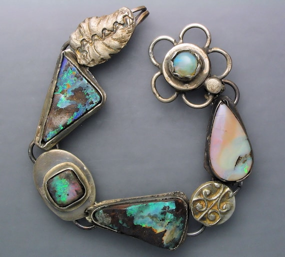 Boulder Opal with Flower Clasp Bracelet