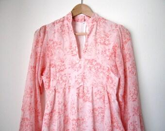 SALE Vintage Maxi Sheer Cotton Floral Dress