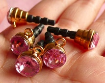 Kawaii Dust Plug Charm / Earphone Plug / Ear Phone Jack Dust Plug / Cellphone Dust Plug w/ Rhinestone (w/ Hole / 5pcs / Pink, Gold) EJ16