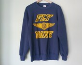 80s vintage FLY NAVY sweatshirt - LARGE