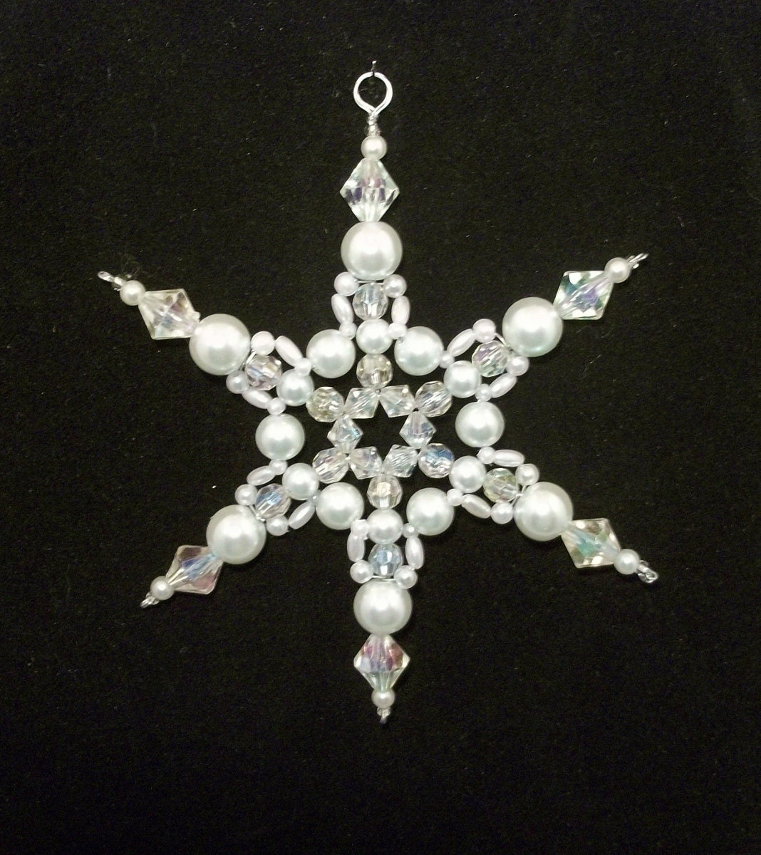 Snowflake ornament white pearl and clear ab christmas