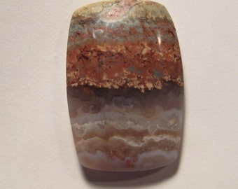 Prudent Man  Plume Agate cab   ...    35  x 23 x 6 mm thick             a4356