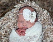 ANGEL WINGS-- WHITE Vintage, Shabby Chiffon 'Bow' on Skinny Stretch Headband-- Antique Rhinestone Adornment-- Baptism/Christening/Wedding
