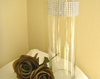 Set of 10 Silver Rhinestone Wrap Glass Cylinder Vases: Wedding or Special Event