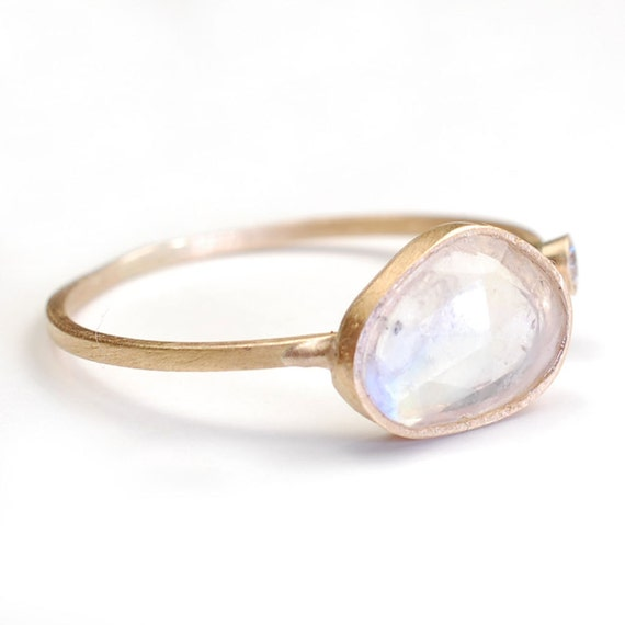 Rose Cut Moonstone Ring, Moonstone and Diamond Ring, Moonstone Ring, Gold, OOAK, Nixin