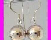 14mm plain shiny harmony ball earrings Chime jingle bola sphere he54
