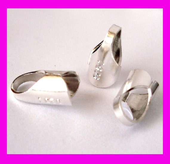 3mm 925 Sterling Silver leather cord end cap crimp tube Round endcap F55