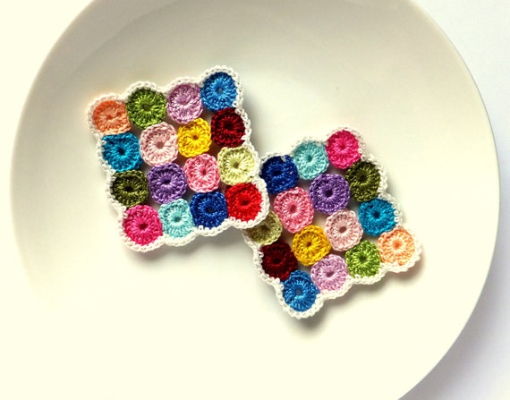 Crocheted coasters colorful circles /set of 2/ square