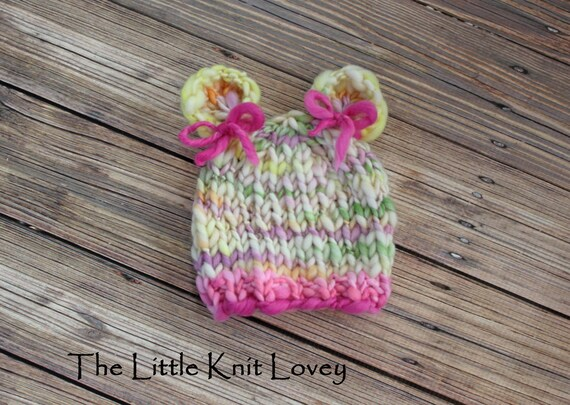 OOAK Hand Spun Merino Wool Knit Hat for Baby Girl, Ready to Ship