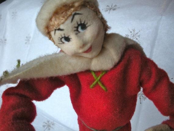 Adorable Vintage Cloth Ski Doll - Ski Decor