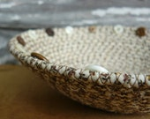 Button Brown and Ivory Fabric Coiled Bowl Basket - Round