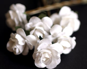 White Rose, Bridal Hair Accessories, Wedding Hair Accessories, White Paper Flower, Bobby Pin - Set of 6