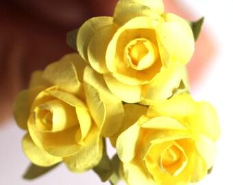 Sunshine Rose, Bridal Hair Accessories, Bohemian Wedding Hair Flower, Yellow Hair Flower, Brass Bobby Pins - Set of 3