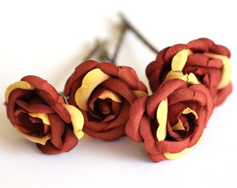 Cactus Rose, Bridal Hair Accessories, Bridesmaid Hair Accessory, Burnt Orange Hair Flower, Brass Bobby Pin Set of 4
