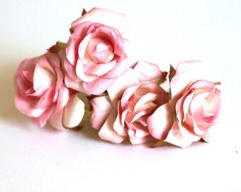 Blush Pink Rose, Bohemian Wedding Hair Accessories, Bridal Pink Hair Flower, Brass Bobby Pins, Set of 4
