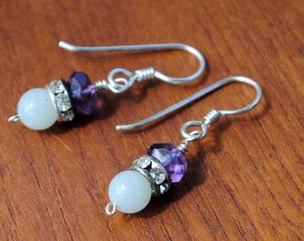 Amethyst, jade and rhinestone earrings